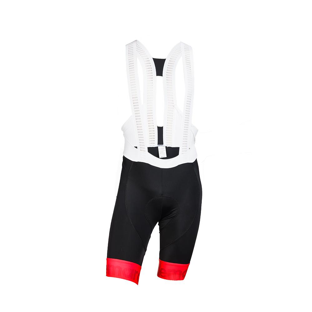 Παντελόνι ποδηλασίας με τιράντα | Μαύρο Κόκκινο Fluo